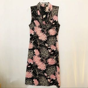 BCBG Paris Floral Cowl Neck Sleeveless Dress